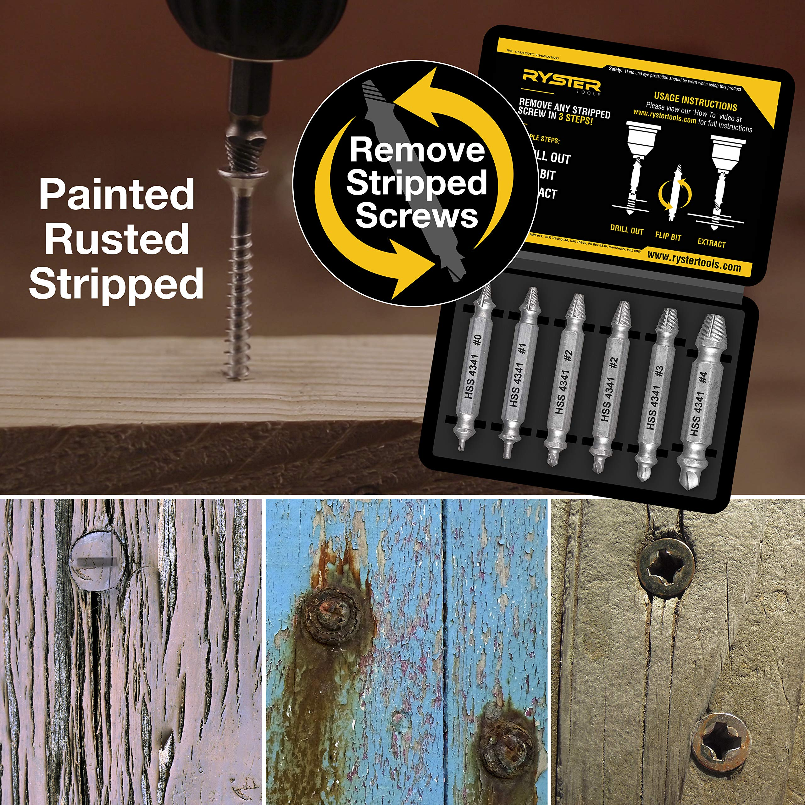 EOUT4HSS Segomo Tools 4 Piece HSS 4341 Damaged//Stripped Screw Extractor Remover Set