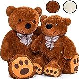 KIDUKU XXL Teddybär   100 cm   Braun   mit Schleife   Weiche Füllung   Kuscheltier Kuschelbär Plüschbär Stofftier
