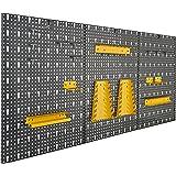 Driedelige gereedschapswand van metaal met 17-delig Hakenset, ca. 120 x 60 x 1,5 cm van Vitaerc rek, perfect wandrek of uitbr