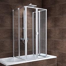 Schulte Rundum-Duschabtrennung München, 2 x 104x140 cm, 2x3-teilig faltbar, Kunstglas Tropfen-Dekor, Profilfarbe alu-natur, geschlossene Duschkabine für Badewanne