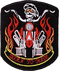 ROPHIL Biker Patches Born to Ride Embroidered Sew On (8 cm x 9.5 cm x 1 cm)
