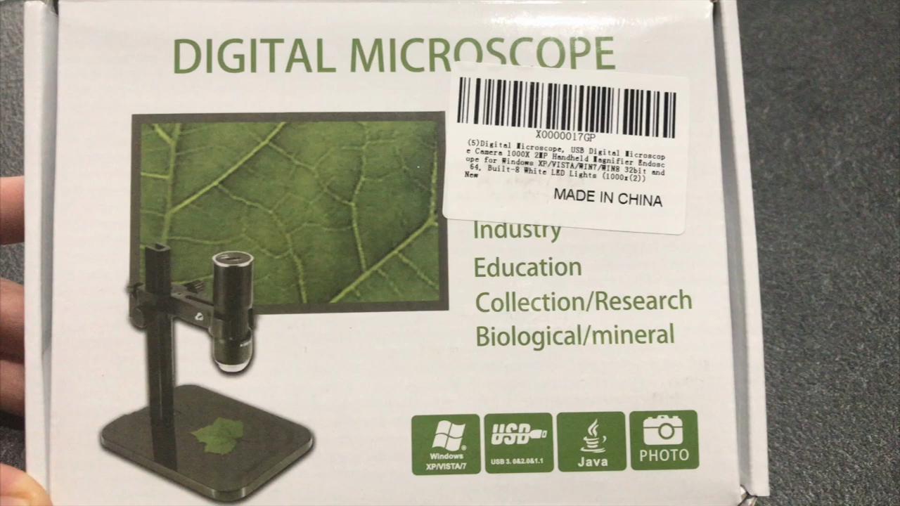 Cámara microscópica digital de 1000 x y 2 megapíxeles para Windows XP, Vista, Win7, Win8, 32 y 64 bits, con 8 luces LED integradas: Amazon.es: Industria, ...