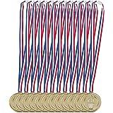 Relaxdays Goldmedaille 12-delige set, band, fakkel, onderscheiding voor zegeling, medaillonset, 5 cm diameter, plastic, goud,