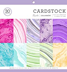Colorbok 71876A Cardstock Paper Pad Marble, 12X12-inch