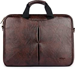 The Clownfish Leatherette 7 Ltr Dark Brown Laptop Briefcase