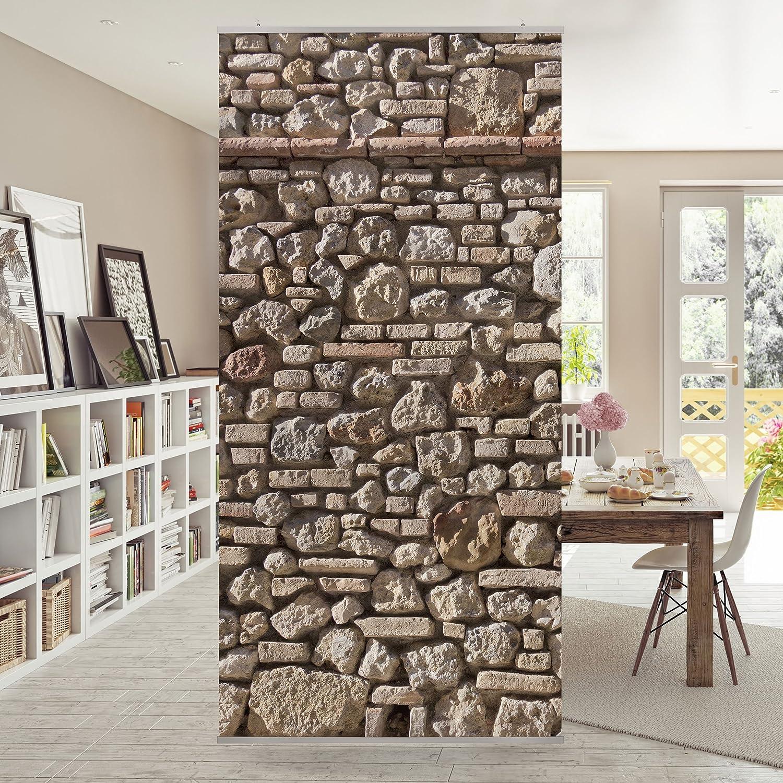 Panneau Rideau Mediterranean Stonewall 250x120cm Support Au  # Bibliotheque Moderne Design Panneau Coulissant