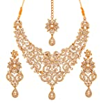 Touchstone Royal Look Marvelous Designer Indian Bollywood Rhinestones Grand Bridal Jewelry Necklace Set For Women
