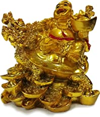 Vastu Feng Shui Big Size Laughing Buddha with Dragon Boat & Coins & Tortoise Best Laughing Buddha Idol Statue Good Luck Gift Item -12 x 12 cm