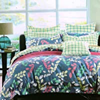 HFI140 TC 3D Printed Polycotton Double Bed Sheet with 2 Pillow Cover (88X96 inches) - Multicolor
