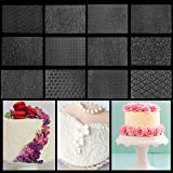 Belle Vous Fondant Impression Mat (12 Pack) - 25.4 x 17.8cm Mould Sheets with 12 Different Design Quilted Impression Icing Cl
