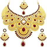 Sukkhi Elegant Gold Plated Wedding Jewellery Austrian Diamond Choker Necklace Set for Women (3105NADS1700)