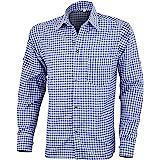 Mens Bavarian Classic Style Lederhosen Longsleeves Blue Checked Shirts