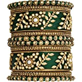Peora Silk Thread Matching Floral Bangle Set Bridal Chuda Chura Jewellery for Women Girls