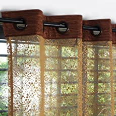 Story@Home Fancy Sparkling Beautiful Sheer Strip Premium Beautiful String Beads Hanging Net 2 Piece Polyester Door Curtain Set - 7ft, Brown