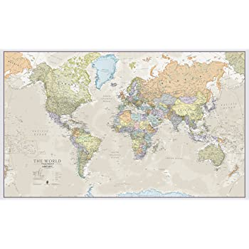 Canvas world map large canvas amazon kitchen home huge classic world map political poster laminatedencapsulated 197cm w x 1165cm h gumiabroncs
