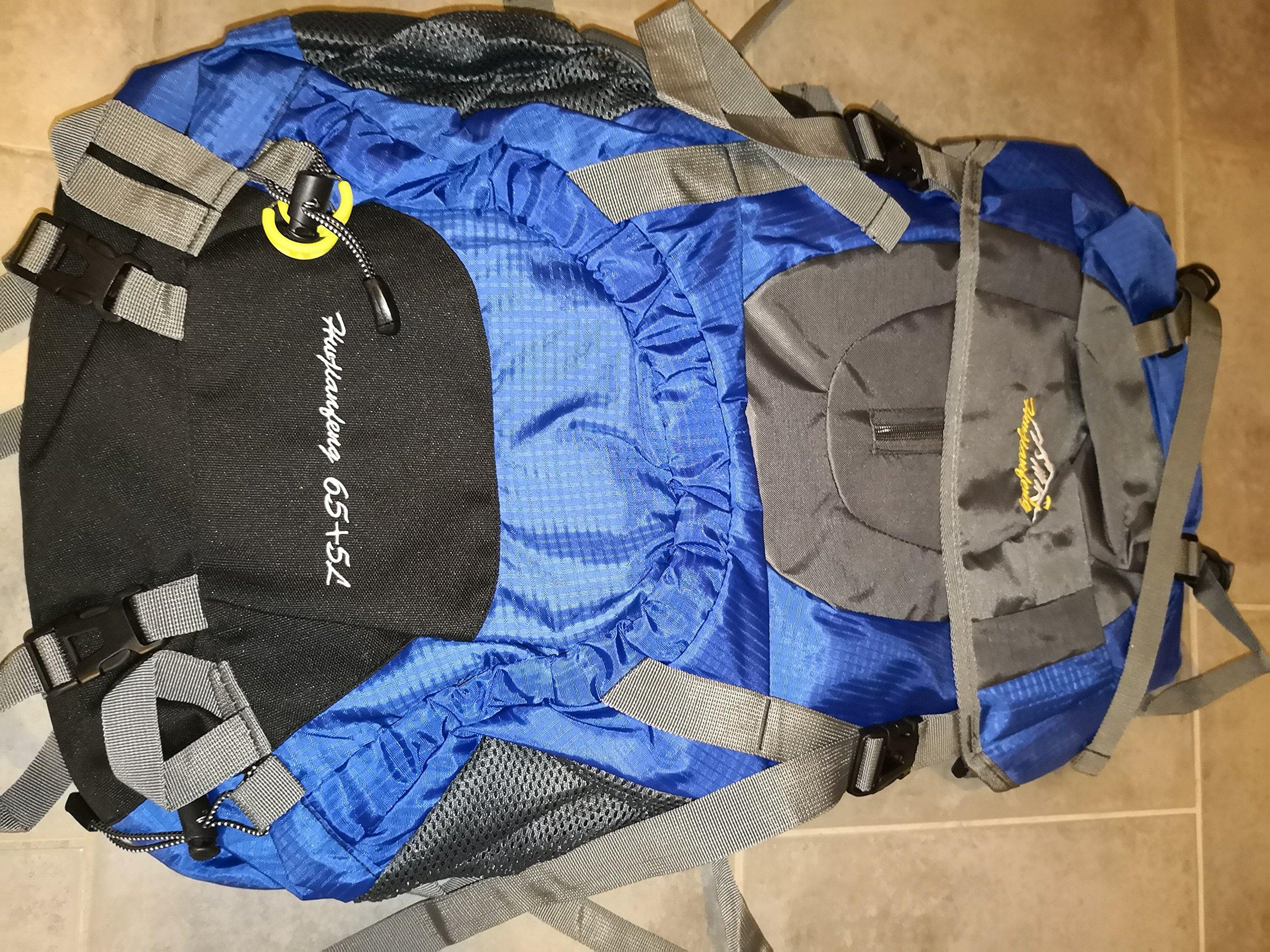 onyorhan 70L Viaje Mochila Trekking Senderismo Excursionismo Alpinismo Escalada Camping para Hombre Mujer Azul