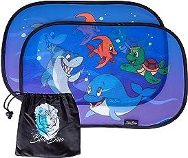 BlueBino Sonnenschutz für Ihr Baby im Auto - Sonnenblendenset für Kinder mit UV Schutz - Blendschutz mit Tiermotiven inklusive praktischer Tasche