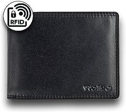 WALISA Geldbeutel für Männer mit RFID Schutz/Ledergeldbeutel Herren mit Doppelnaht/Geldbörse aus echtem Nappa Leder