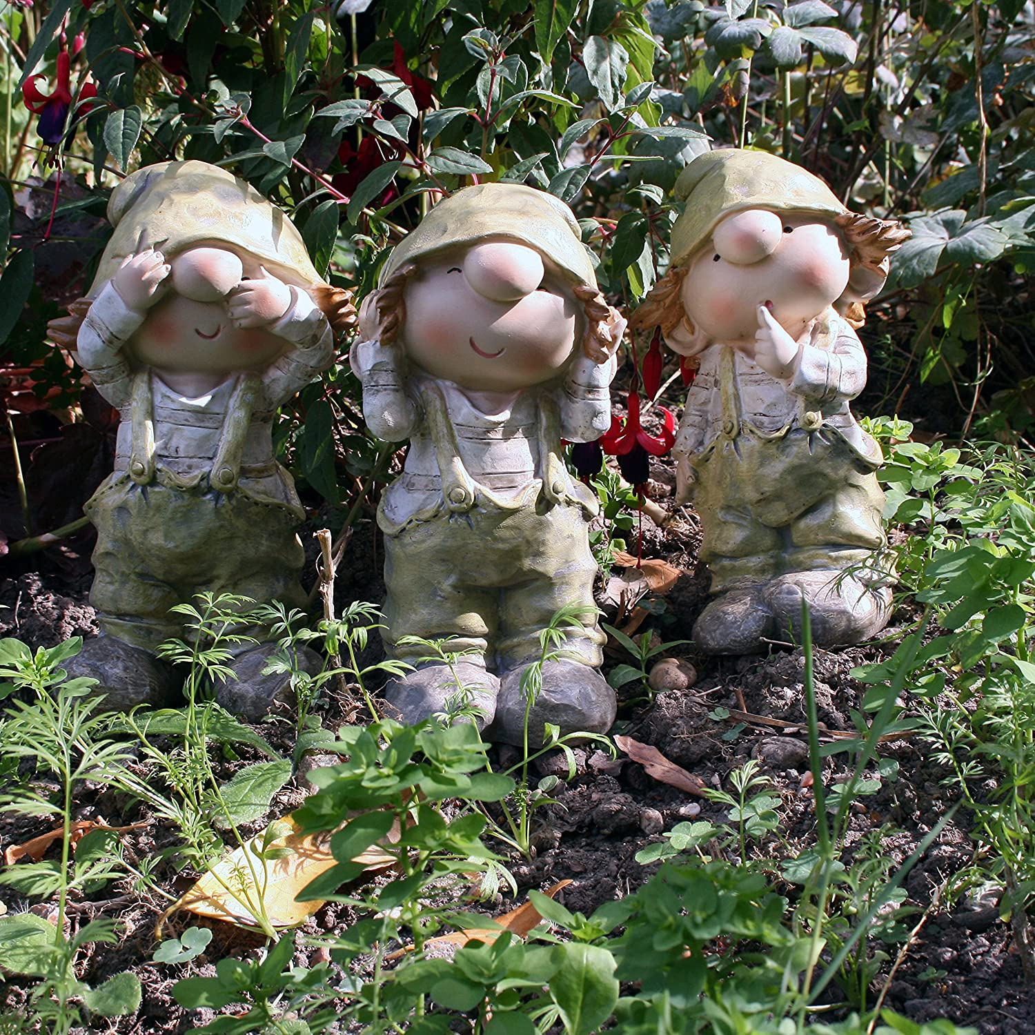 Cuthbert Kate And Cerys Standing , See No Evil, Hear No Evil, Speak No Evil,  Garden Ornament, Gnome, Garden Fairy, Troll, Imp: Amazon.co.uk: Garden U0026 ...