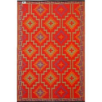 Fab Hab Lhasa Orange Violet Intérieur Extérieurtapis Cm X - Carrelage terrasse et tapis kilim blanc