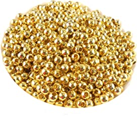 Jaz Golden Finish Round Metallic Beads for Jewellery Making (Size-5 mm Hole Size-2mm) - Pack of 100 Pieces