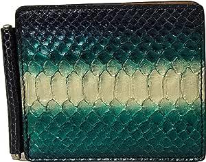 Portadollari - Portafoglio con fermasoldi e portacarte in Vera Pelle di Pitone - Verde e Argento - Etabeta Artigiano Toscano - Made in Italy