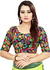 ARSH IMPEX Women's Unstitched Georgette Embroidered Blouse Piece (aarsh_6002, Black)