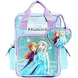 Disney Rucksack Schule, Frozen 2 Set mit Rucksack und Handtasche Mädchen, Glitzer Rucksack Kinder mit Anna und ELSA, Reise un