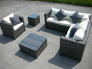 new rattan wicker conservatory outdoor garden furniture set corner sofa table grey