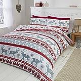 Parure da letto con Copripiumino Matrimoniale e 2 federe, motivo: Cuori di Natale, 100% flanella di cotone spazzolato, colore