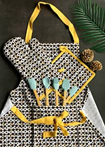 Pixel Home Printed Apron with Centre Pocket Cotton with Oven Mitten with Free Pot Holder (Black Dot Print)