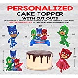WoW Party Studio ™ Personalized PJ Masks Theme Cake Topper with Birthday Boy/Girl Name and 1ft Cutouts Combo
