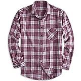 PIZZ ANNU Camisa 100% de algodón de Manga Larga a Cuadros en Fleece Camisa de Franela con Botones