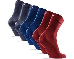 6 Pack Bamboo Dress Socks, for Men & Women, Classic, Super Soft, Breathable, Premium Comfort, Grey, Blue & Black