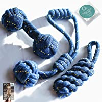 DOGGIE DOG 4 in 1 Premium 3 Almost Indestructible Cotton Hand-Braided Chewing Dog Toys Combo for Small and Medium Dog…