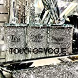 Touch of Vogue® 15 CM Grote Diamant Verpletterd Thee Koffie Suiker KANISTERS Potten Opslag Zilver Trimmings Crystal Gevuld