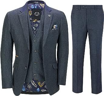 Mens 3 Piece Herringbone Tweed Suit in Navy Retro Style Blazer Waistcoat Trouser