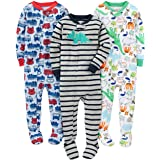 Simple Joys by Carter's Pijama de algodón con pies Ajustados Bebé-Niños, Pack de 3