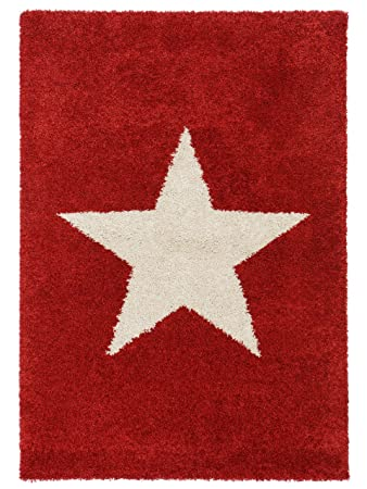 Benuta Shaggy Hochflor Teppich Graphic Star Rot 80x150 Cm