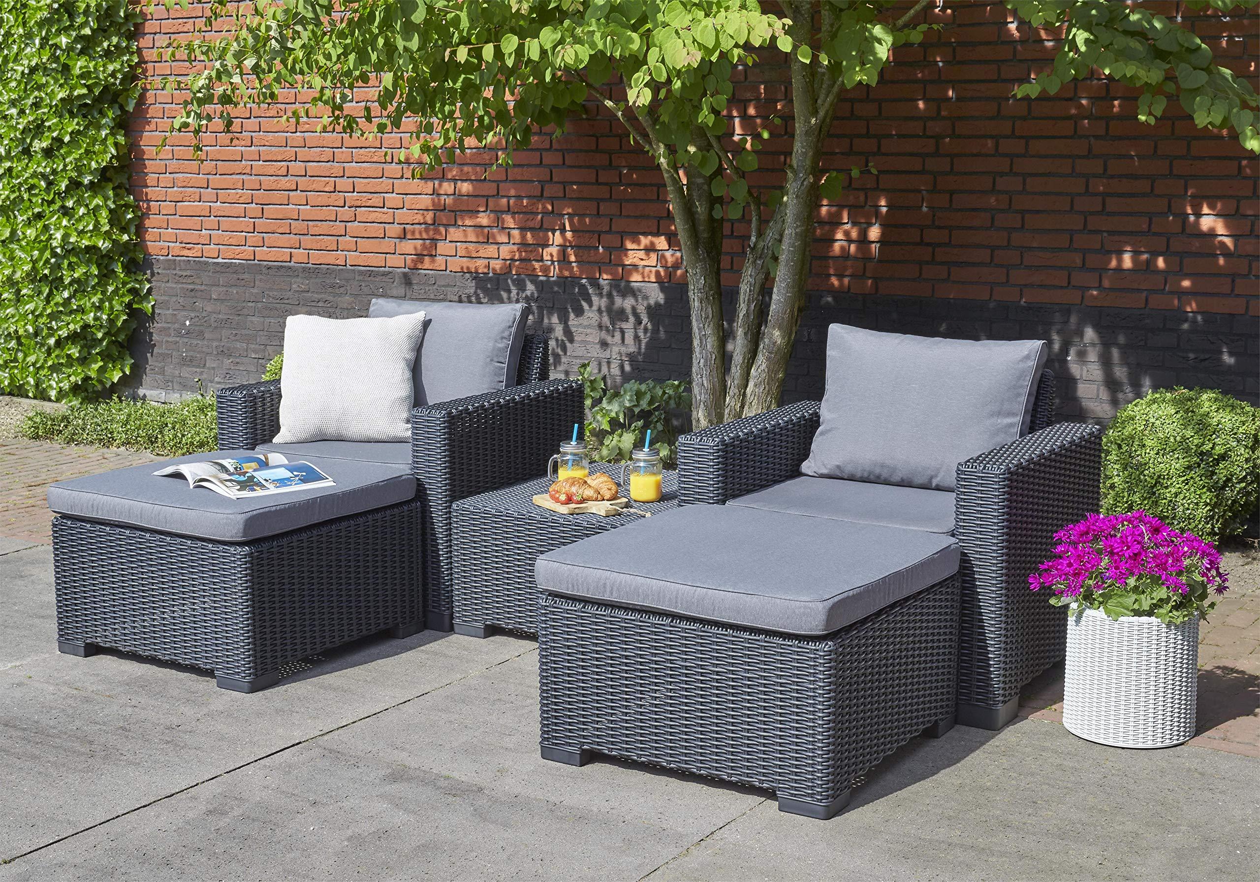 Allibert by Keter California Rattan Outdoor Coffee Table Garden Furniture – Cappuccino