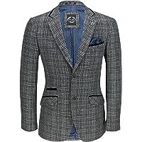 XPOSED of London Men's Classic Bold Tweed Check Blazer in Brown, Grey Herringbone 1920s Retro Tailored Fit Jacket