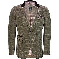 XPOSED of London Men's Black Oak Brown Vintage Styled Tweed Check Blazer Tailored Fit Retro Herringbone Jacket