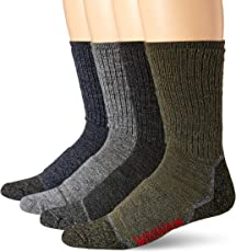Wigwam Unisex-Adults Merino Lite Hiker Midweight Crew Socks 4-Pack, Assortment, Sock Size:10-13/Shoe Size: 6-12