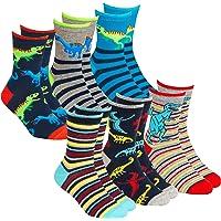 Kids Boys 6 Pairs Crew Socks Cotton Rich Novelty Cartoon Print Mid Calf Sock Size 6-8.5 to 12.5-3.5