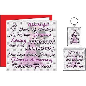 My Husband 4th Wedding Anniversary Gift Set Card Keyring