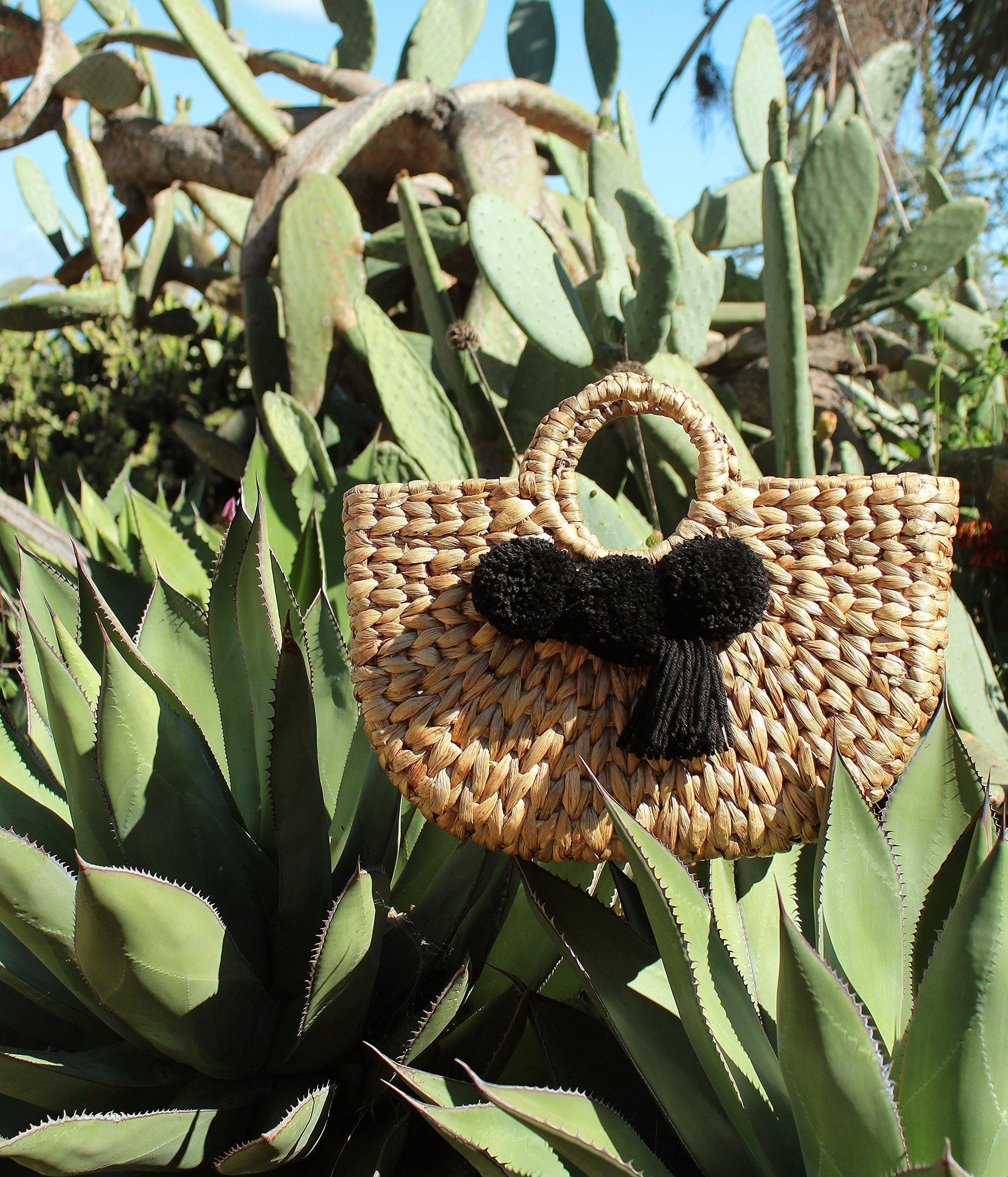 """Brunna Beach Bag"" Water Hyacinth bag, in Black / Picnic Bag / Boho Chic Bag / Shabby Chic Bag / Woven Bag / Pompom Beach Bag - handmade-bags"