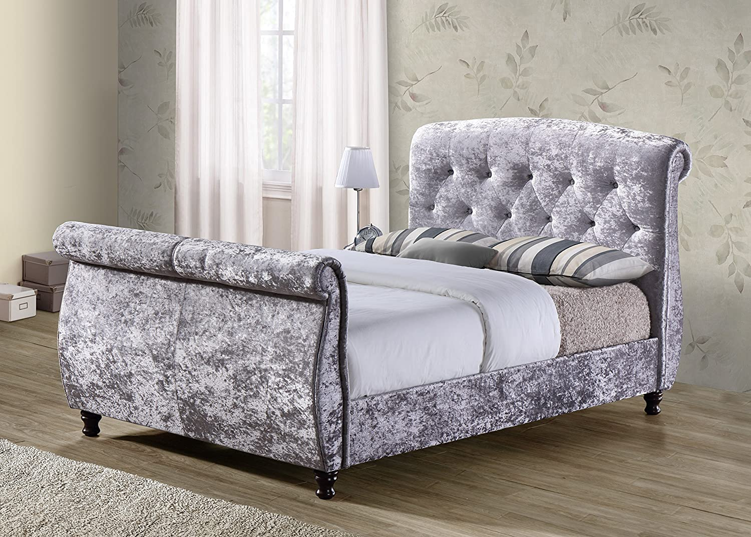 Birlea Furniture Toulouse Textured Fabric Sleigh-Bed, 6 ft, Super ...
