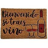 koko doormats felpudos Entrada casa Originales, Fibra de Coco y PVC, Felpudo Exterior Bienvenido SI TRAES Vino, 40x60x1.5 cm