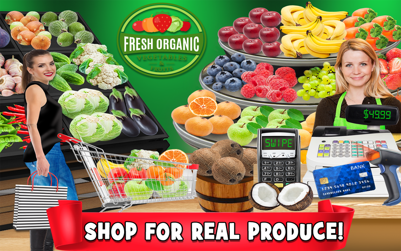Real Grocery Store & Supermarket Simulator - Kids Shopping & Cash Register Games FREE