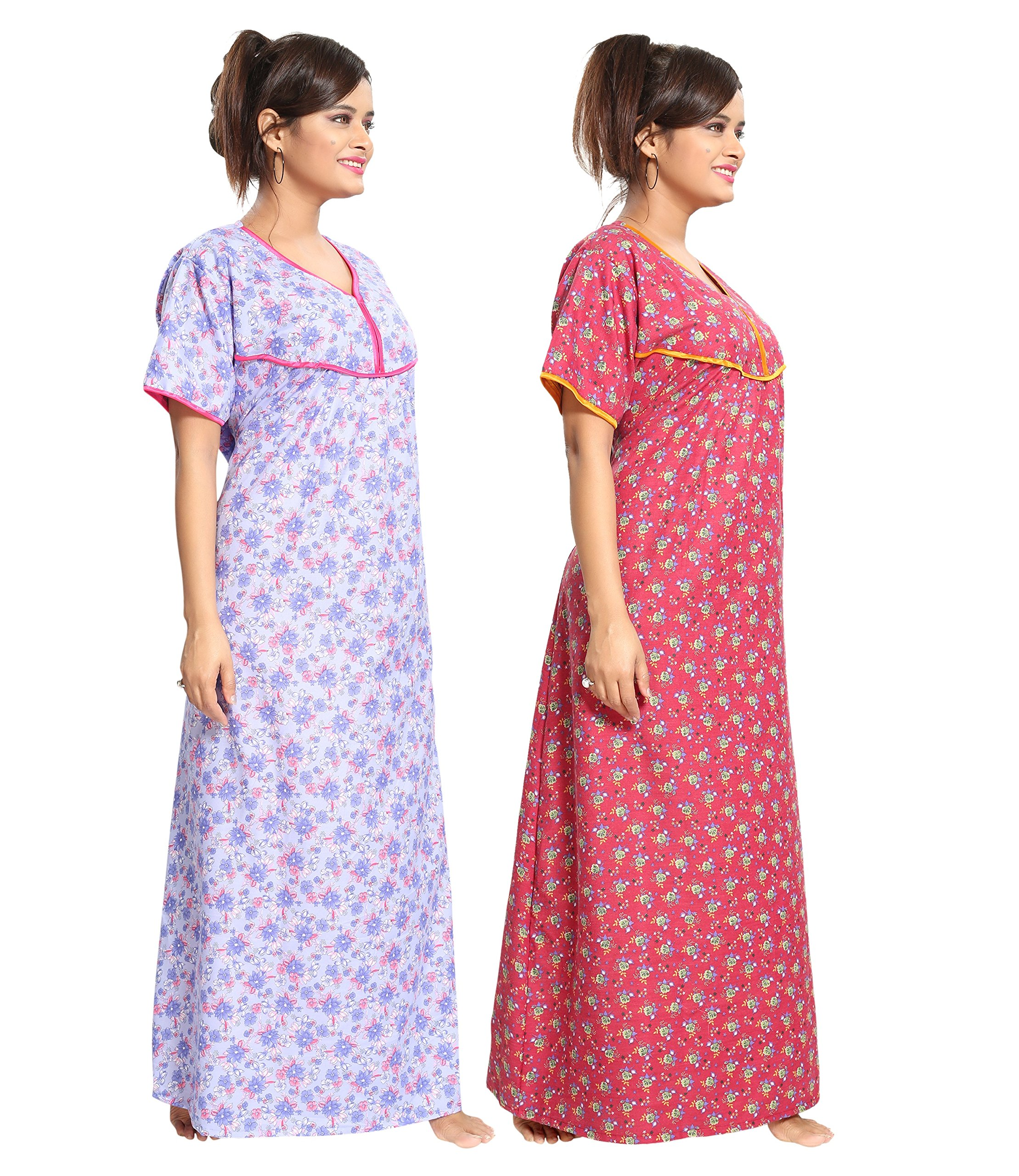 7b66c3e674 TUCUTE Women's Cotton Beautiful Floral Print Nighty/Night Gown/Night ...